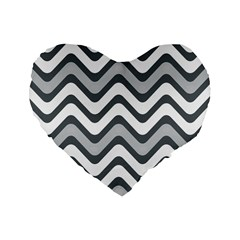 Shades Of Grey And White Wavy Lines Background Wallpaper Standard 16  Premium Heart Shape Cushions