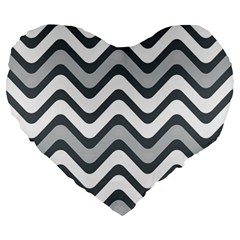 Shades Of Grey And White Wavy Lines Background Wallpaper Large 19  Premium Heart Shape Cushions