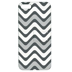 Shades Of Grey And White Wavy Lines Background Wallpaper Apple iPhone 5 Hardshell Case with Stand