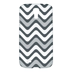 Shades Of Grey And White Wavy Lines Background Wallpaper Samsung Galaxy S4 I9500/I9505 Hardshell Case