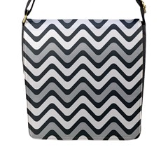Shades Of Grey And White Wavy Lines Background Wallpaper Flap Messenger Bag (L)