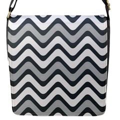 Shades Of Grey And White Wavy Lines Background Wallpaper Flap Messenger Bag (S)