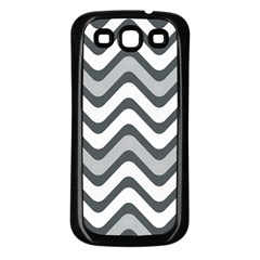 Shades Of Grey And White Wavy Lines Background Wallpaper Samsung Galaxy S3 Back Case (black)