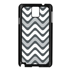 Shades Of Grey And White Wavy Lines Background Wallpaper Samsung Galaxy Note 3 N9005 Case (black)