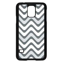 Shades Of Grey And White Wavy Lines Background Wallpaper Samsung Galaxy S5 Case (Black)