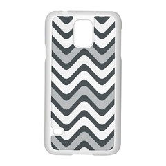 Shades Of Grey And White Wavy Lines Background Wallpaper Samsung Galaxy S5 Case (White)