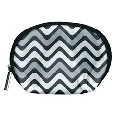 Shades Of Grey And White Wavy Lines Background Wallpaper Accessory Pouches (Medium)