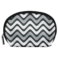 Shades Of Grey And White Wavy Lines Background Wallpaper Accessory Pouches (Large)