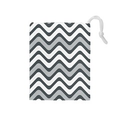 Shades Of Grey And White Wavy Lines Background Wallpaper Drawstring Pouches (Medium)