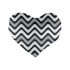 Shades Of Grey And White Wavy Lines Background Wallpaper Standard 16  Premium Flano Heart Shape Cushions
