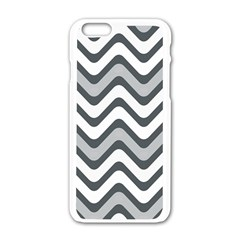 Shades Of Grey And White Wavy Lines Background Wallpaper Apple Iphone 6/6s White Enamel Case