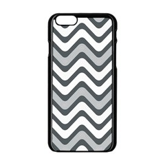 Shades Of Grey And White Wavy Lines Background Wallpaper Apple iPhone 6/6S Black Enamel Case