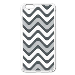 Shades Of Grey And White Wavy Lines Background Wallpaper Apple iPhone 6 Plus/6S Plus Enamel White Case