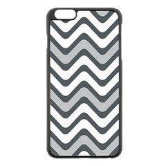 Shades Of Grey And White Wavy Lines Background Wallpaper Apple iPhone 6 Plus/6S Plus Black Enamel Case