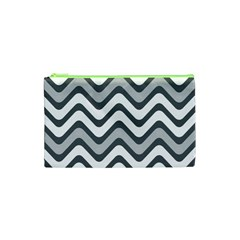 Shades Of Grey And White Wavy Lines Background Wallpaper Cosmetic Bag (XS)