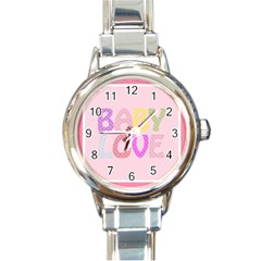 Pink Baby Love Text In Colorful Polka Dots Round Italian Charm Watch