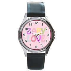 Pink Baby Love Text In Colorful Polka Dots Round Metal Watch