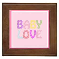 Pink Baby Love Text In Colorful Polka Dots Framed Tiles