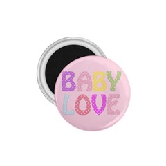 Pink Baby Love Text In Colorful Polka Dots 1.75  Magnets