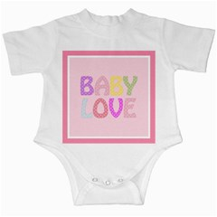 Pink Baby Love Text In Colorful Polka Dots Infant Creepers