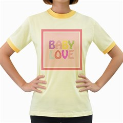 Pink Baby Love Text In Colorful Polka Dots Women s Fitted Ringer T Shirts