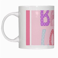 Pink Baby Love Text In Colorful Polka Dots White Mugs