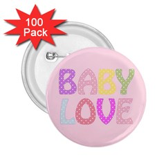Pink Baby Love Text In Colorful Polka Dots 2 25  Buttons (100 Pack)