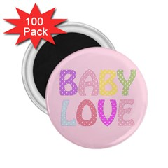 Pink Baby Love Text In Colorful Polka Dots 2 25  Magnets (100 Pack)
