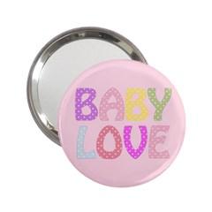 Pink Baby Love Text In Colorful Polka Dots 2.25  Handbag Mirrors