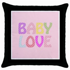 Pink Baby Love Text In Colorful Polka Dots Throw Pillow Case (black)