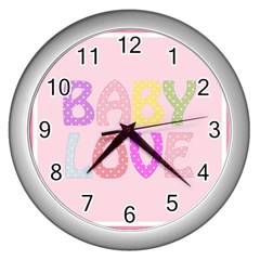 Pink Baby Love Text In Colorful Polka Dots Wall Clocks (silver)