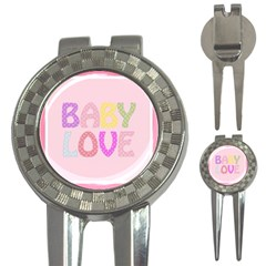 Pink Baby Love Text In Colorful Polka Dots 3 In 1 Golf Divots