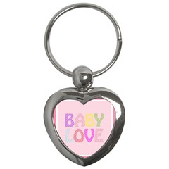 Pink Baby Love Text In Colorful Polka Dots Key Chains (Heart)