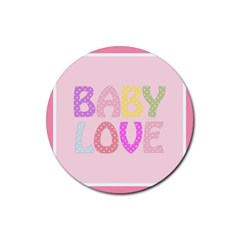 Pink Baby Love Text In Colorful Polka Dots Rubber Round Coaster (4 Pack)