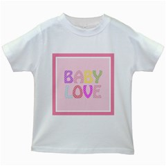 Pink Baby Love Text In Colorful Polka Dots Kids White T Shirts
