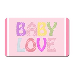 Pink Baby Love Text In Colorful Polka Dots Magnet (rectangular)