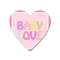 Pink Baby Love Text In Colorful Polka Dots Heart Magnet