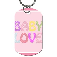 Pink Baby Love Text In Colorful Polka Dots Dog Tag (two Sides)