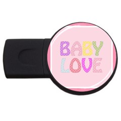 Pink Baby Love Text In Colorful Polka Dots Usb Flash Drive Round (2 Gb)