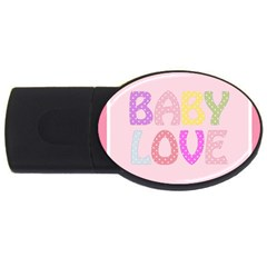 Pink Baby Love Text In Colorful Polka Dots USB Flash Drive Oval (2 GB)