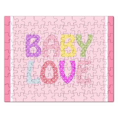 Pink Baby Love Text In Colorful Polka Dots Rectangular Jigsaw Puzzl