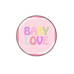 Pink Baby Love Text In Colorful Polka Dots Hat Clip Ball Marker (10 Pack)