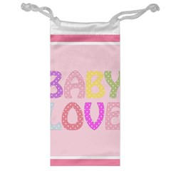 Pink Baby Love Text In Colorful Polka Dots Jewelry Bag
