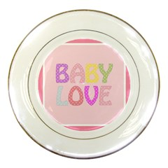 Pink Baby Love Text In Colorful Polka Dots Porcelain Plates