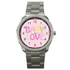 Pink Baby Love Text In Colorful Polka Dots Sport Metal Watch