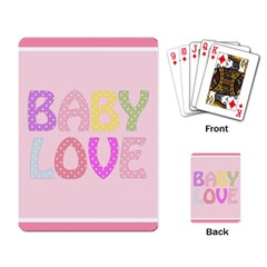Pink Baby Love Text In Colorful Polka Dots Playing Card