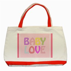 Pink Baby Love Text In Colorful Polka Dots Classic Tote Bag (red)