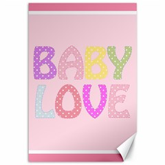 Pink Baby Love Text In Colorful Polka Dots Canvas 12  X 18