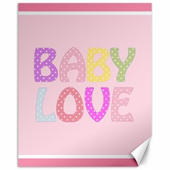 Pink Baby Love Text In Colorful Polka Dots Canvas 16  x 20