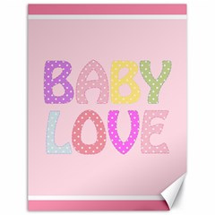 Pink Baby Love Text In Colorful Polka Dots Canvas 18  X 24